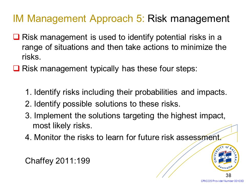 IM Management Approach 5: Risk management