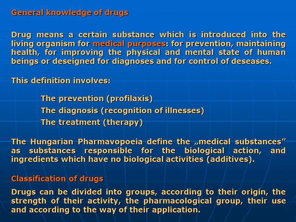 General knowledge of drugs