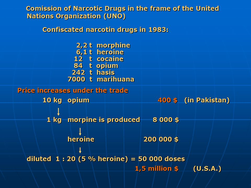 Comission of Narcotic Drugs in the frame of the United Nations Organization (UNO)