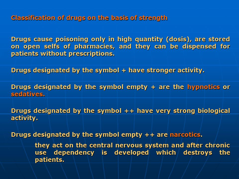 Classification of drugs on the basis of strength