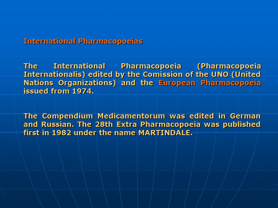 International Pharmacopoeias