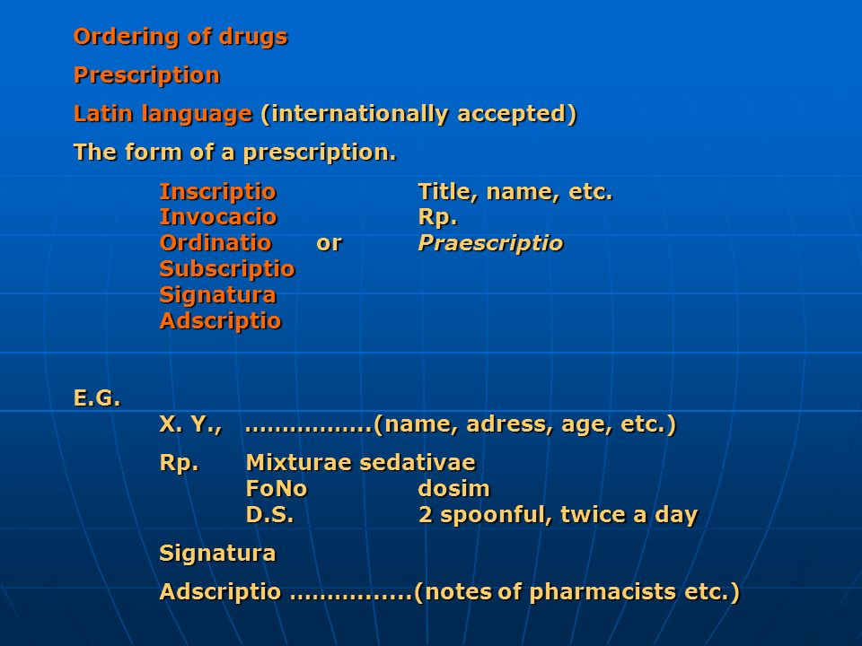 Ordering of drugs Prescription. Latin language (internationally accepted) The form of a prescription.