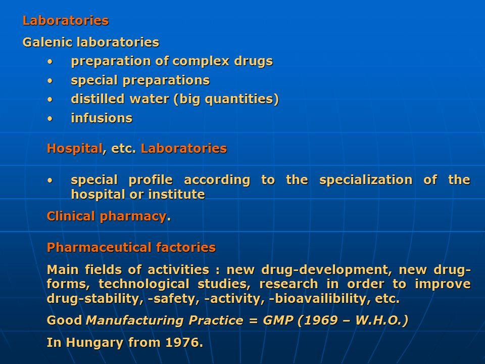 Laboratories Galenic laboratories. preparation of complex drugs. special preparations. distilled water (big quantities)