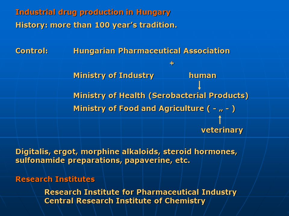 Industrial drug production in Hungary