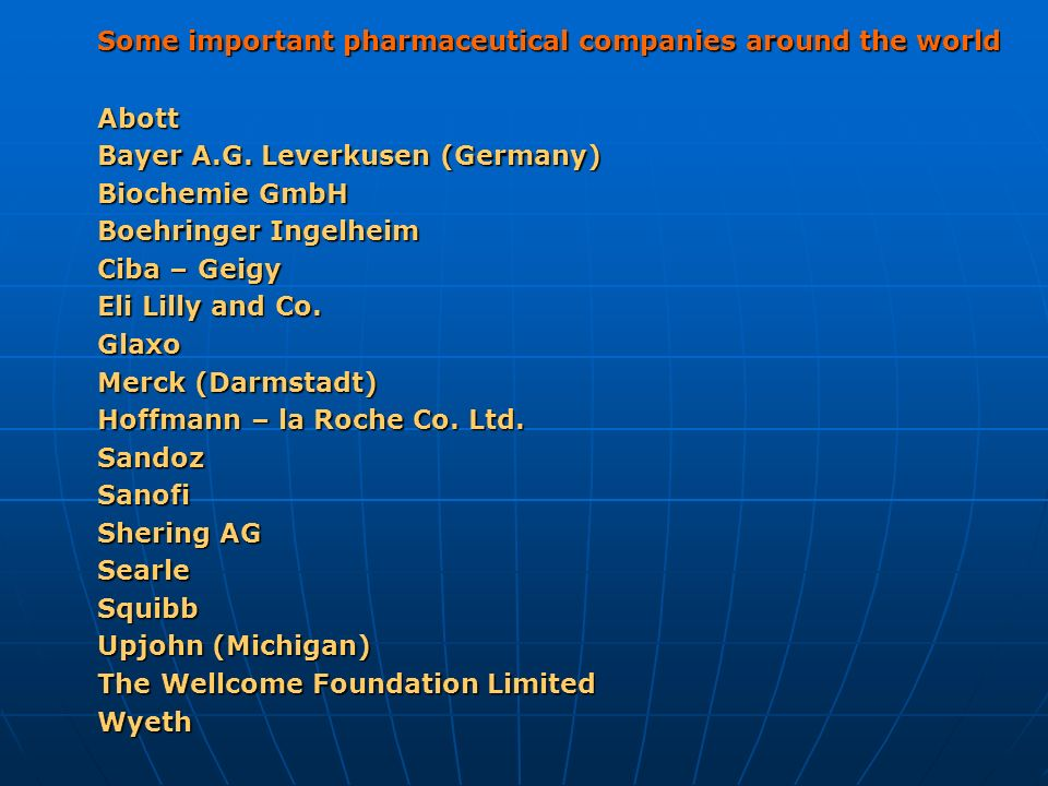 Some important pharmaceutical companies around the world