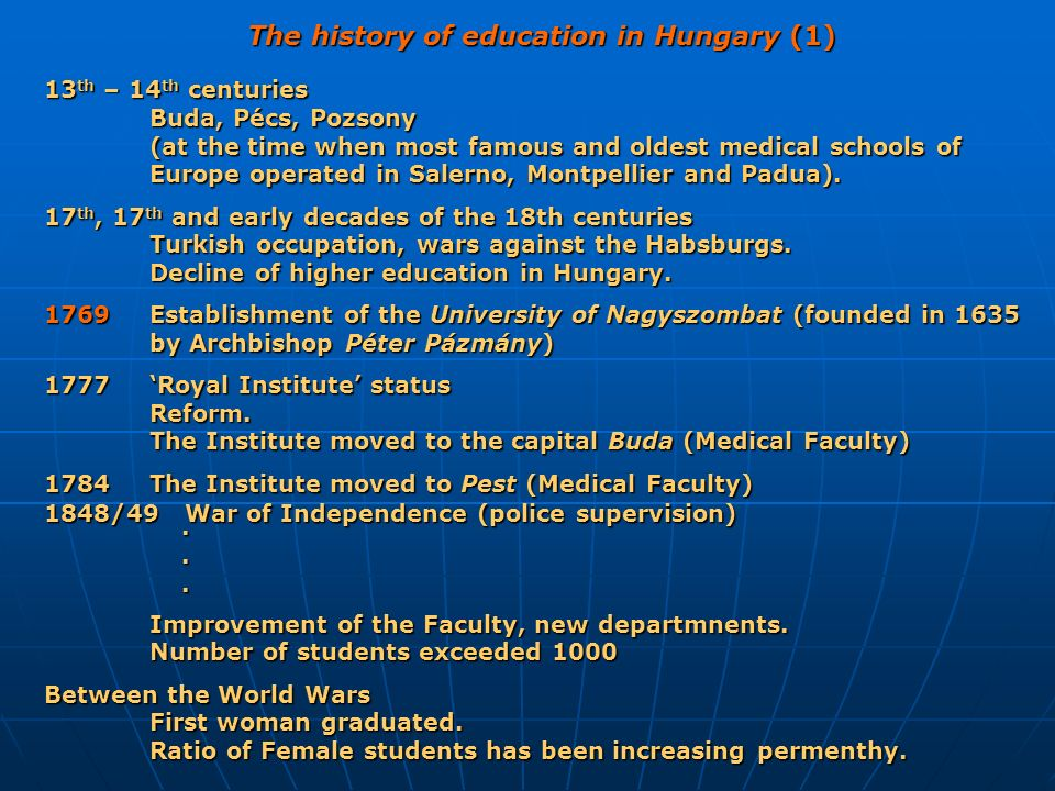 The history of education in Hungary (1)