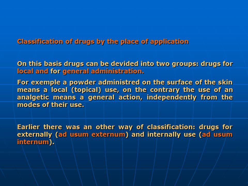 Classification of drugs by the place of application