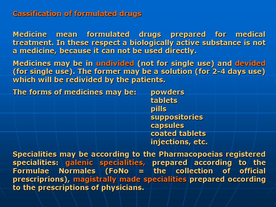 Cassification of formulated drugs