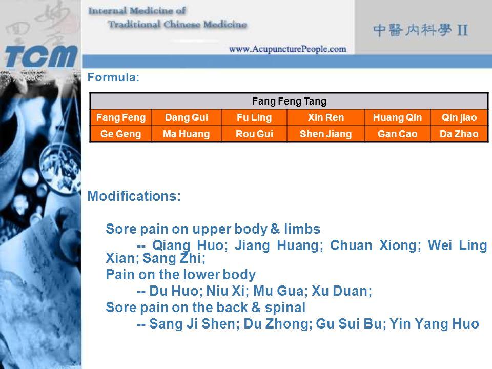 Sore pain on upper body & limbs