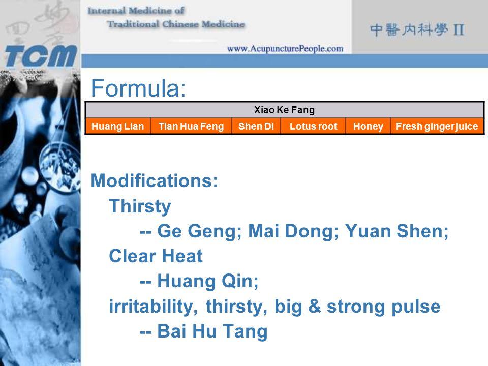Formula: Modifications: Thirsty -- Ge Geng; Mai Dong; Yuan Shen;