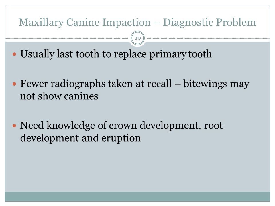 Maxillary Canine Impaction – Diagnostic Problem