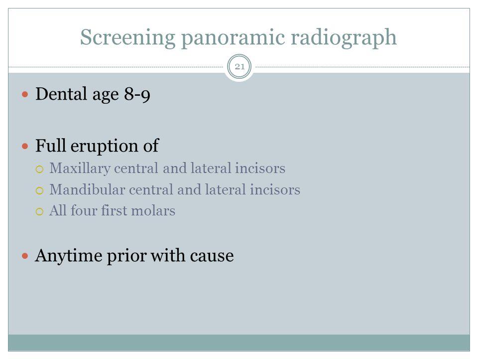 Screening panoramic radiograph
