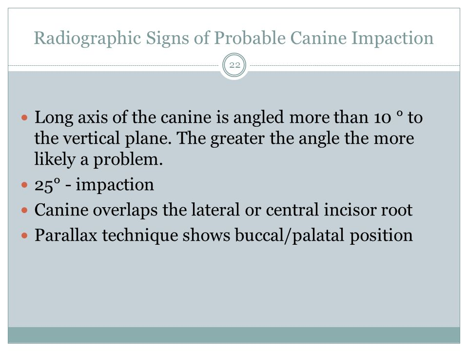 Radiographic Signs of Probable Canine Impaction