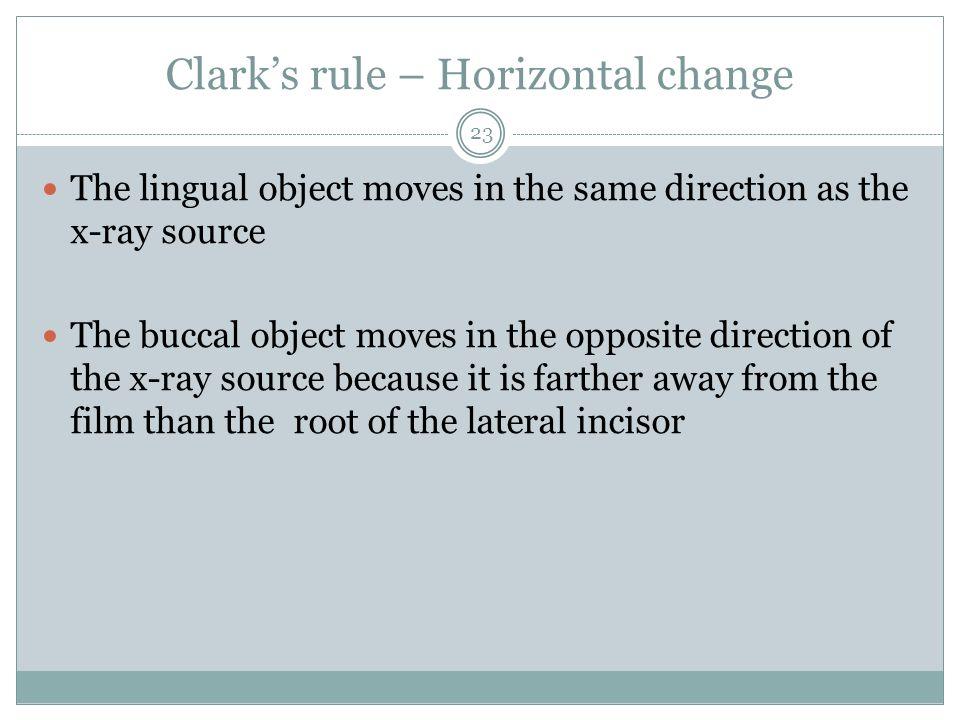 Clark's rule – Horizontal change