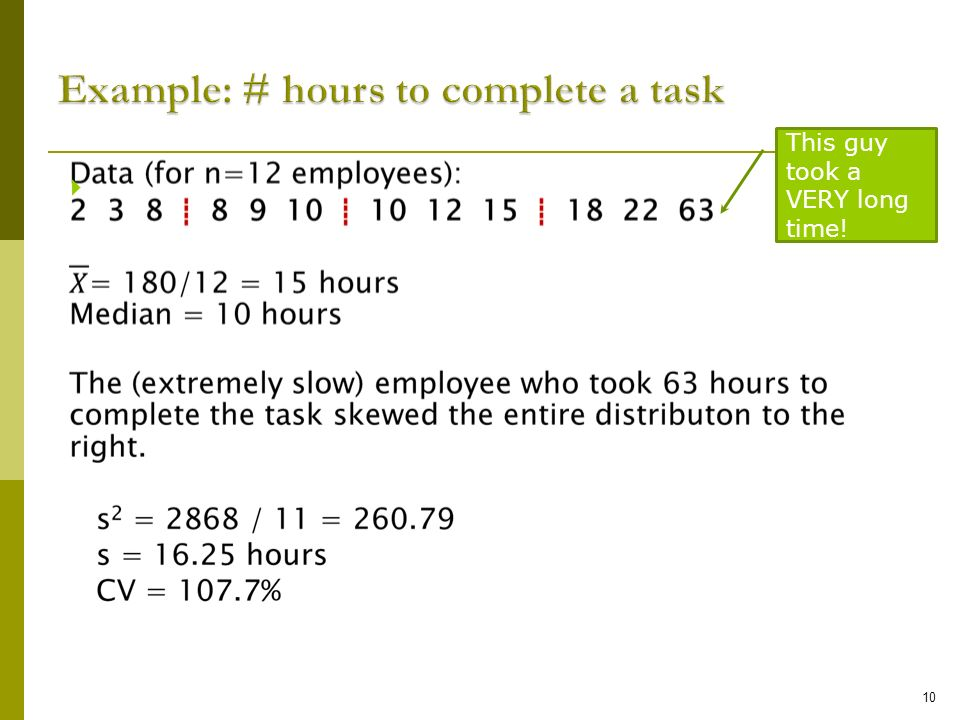 Example: # hours to complete a task