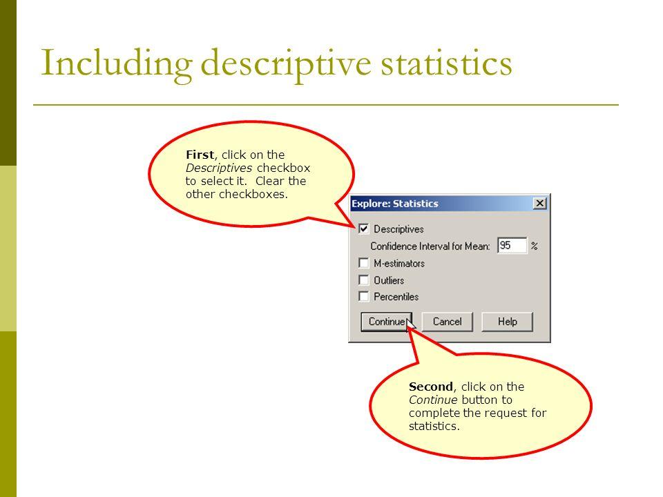 Including descriptive statistics