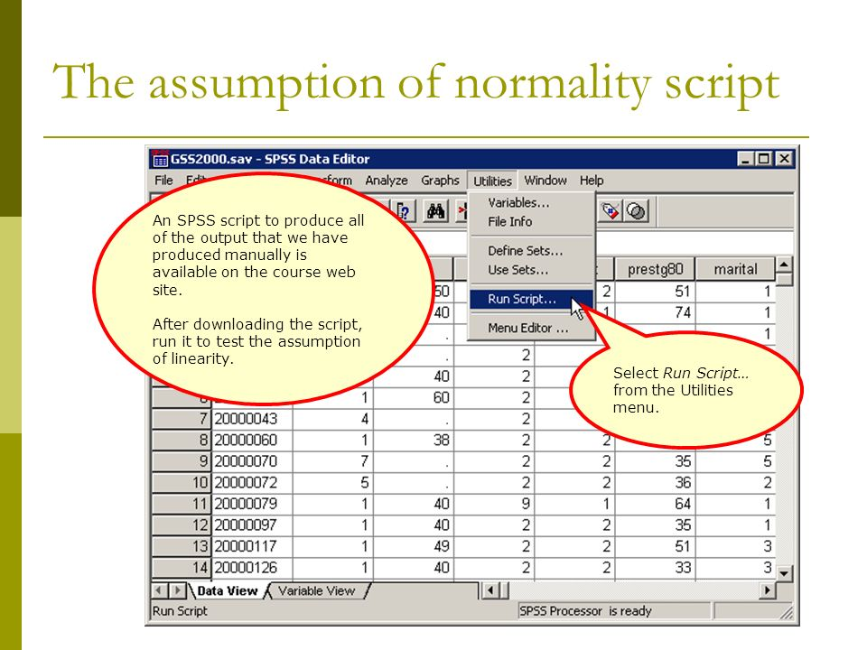 The assumption of normality script