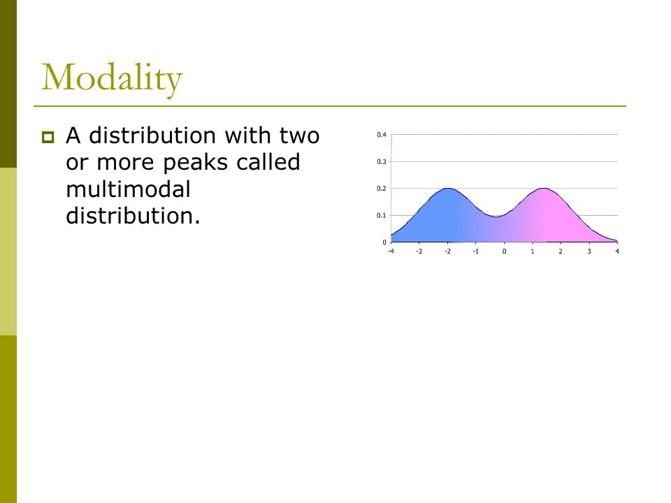 Modality A distribution with two or more peaks called multimodal distribution.