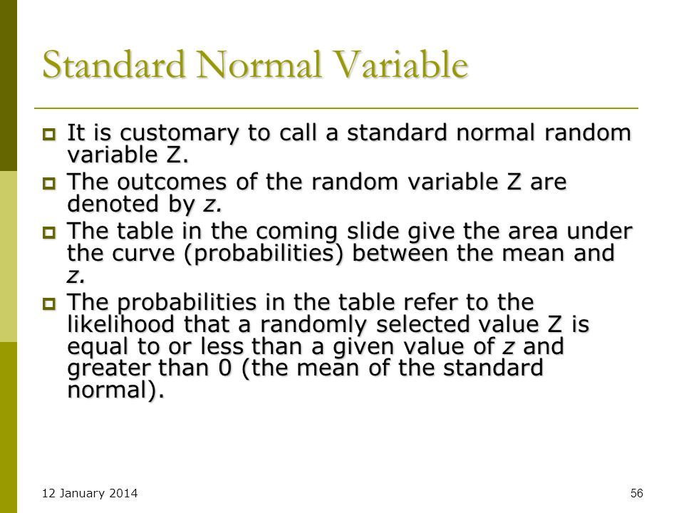 Standard Normal Variable