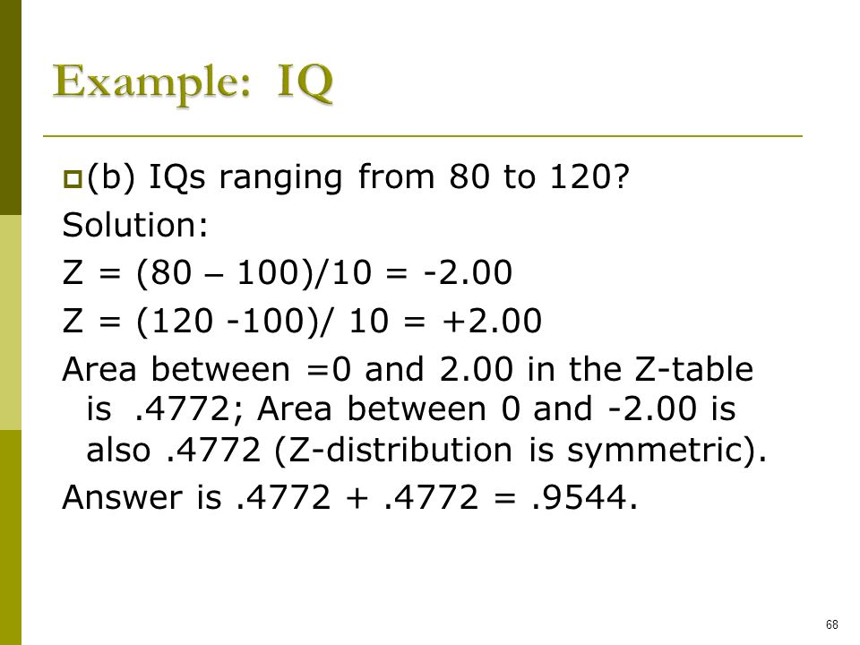 Example: IQ (b) IQs ranging from 80 to 120 Solution: