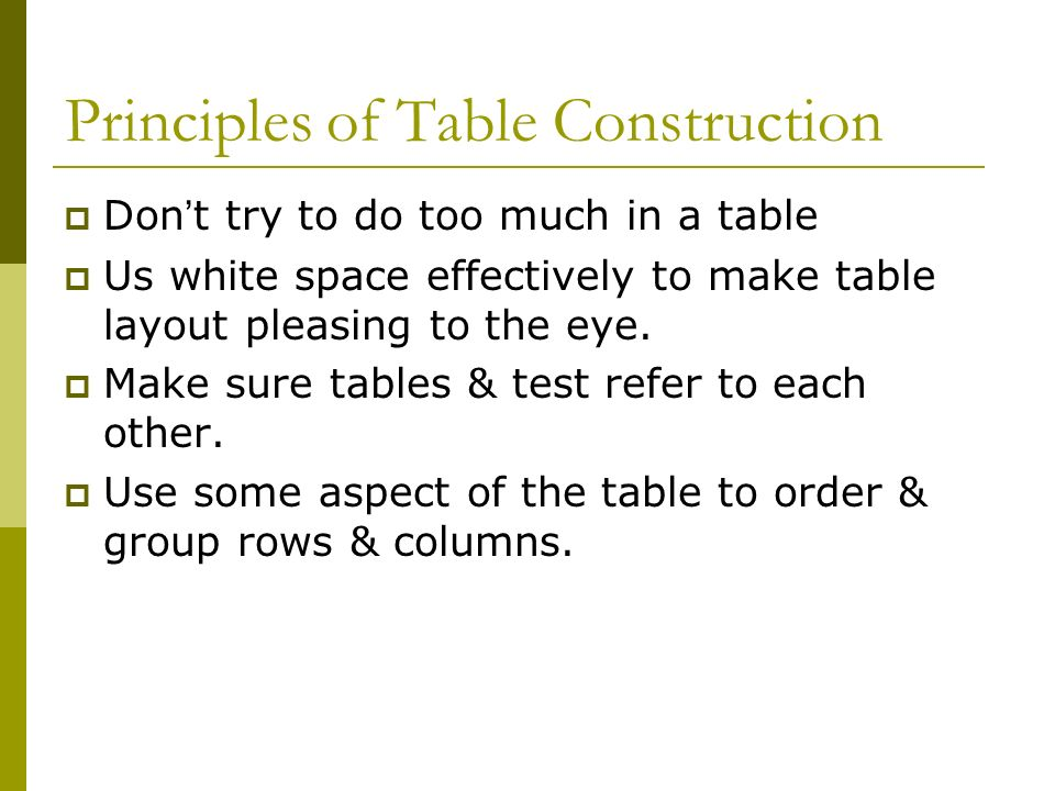 Principles of Table Construction