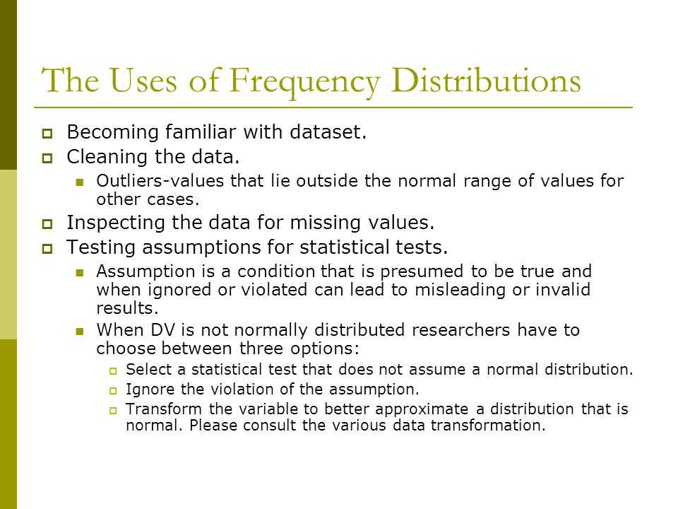 The Uses of Frequency Distributions