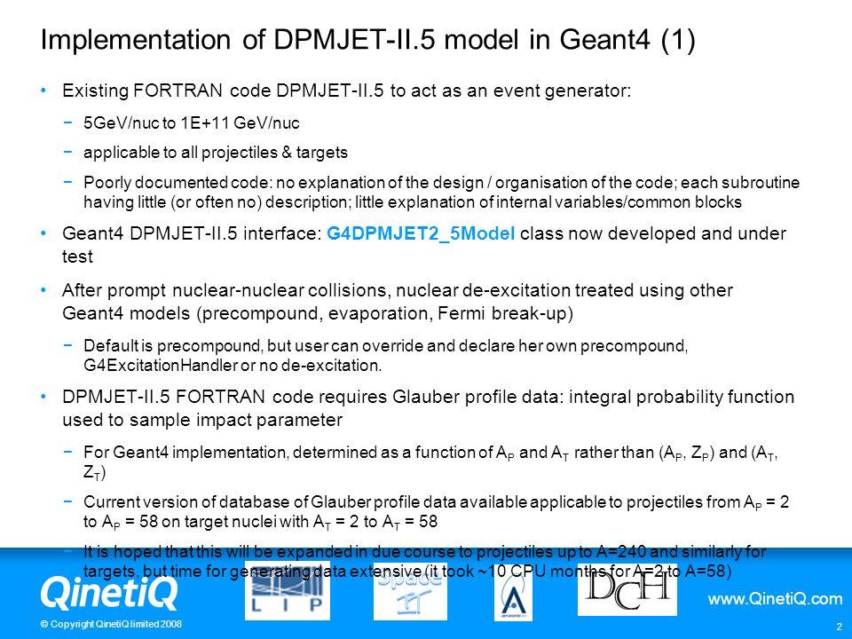 Implementation of DPMJET-II.5 model in Geant4 (1)