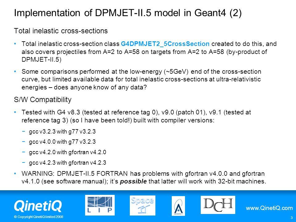 Implementation of DPMJET-II.5 model in Geant4 (2)