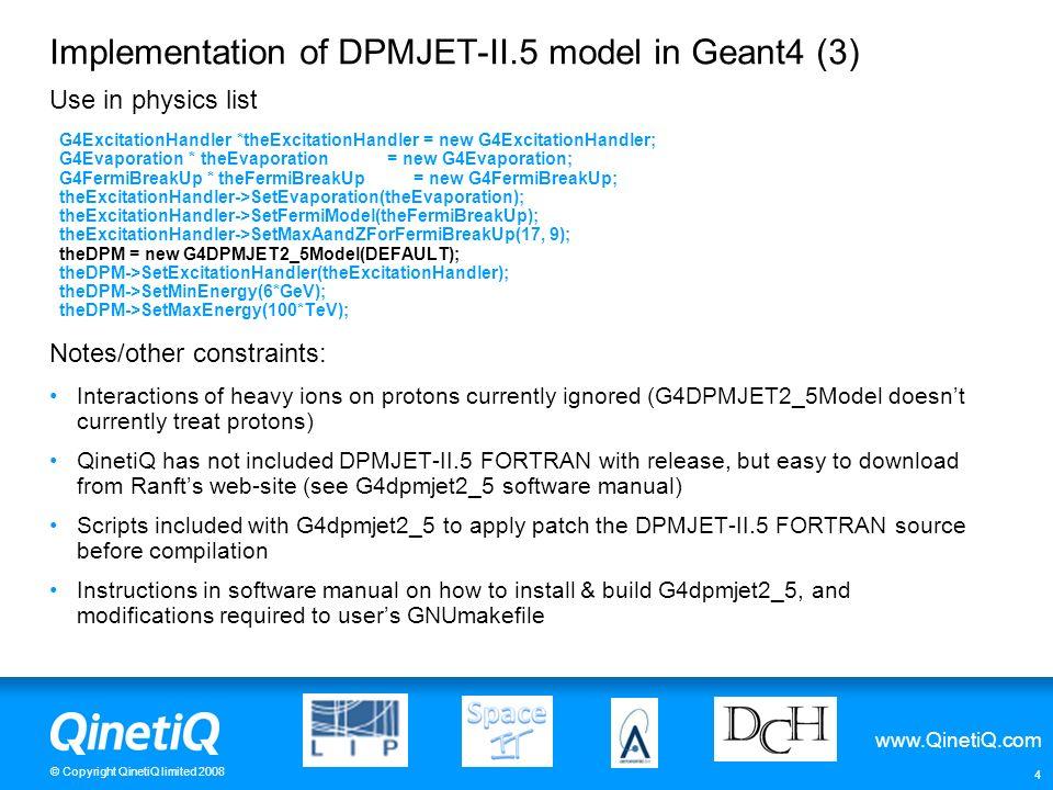 Implementation of DPMJET-II.5 model in Geant4 (3)