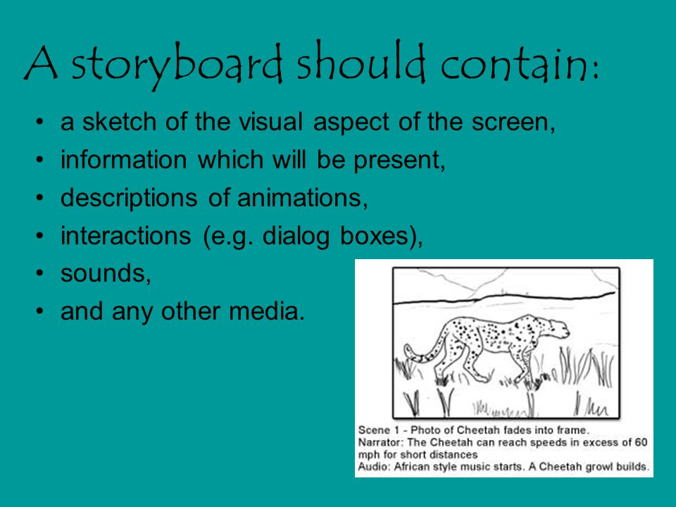 A storyboard should contain:
