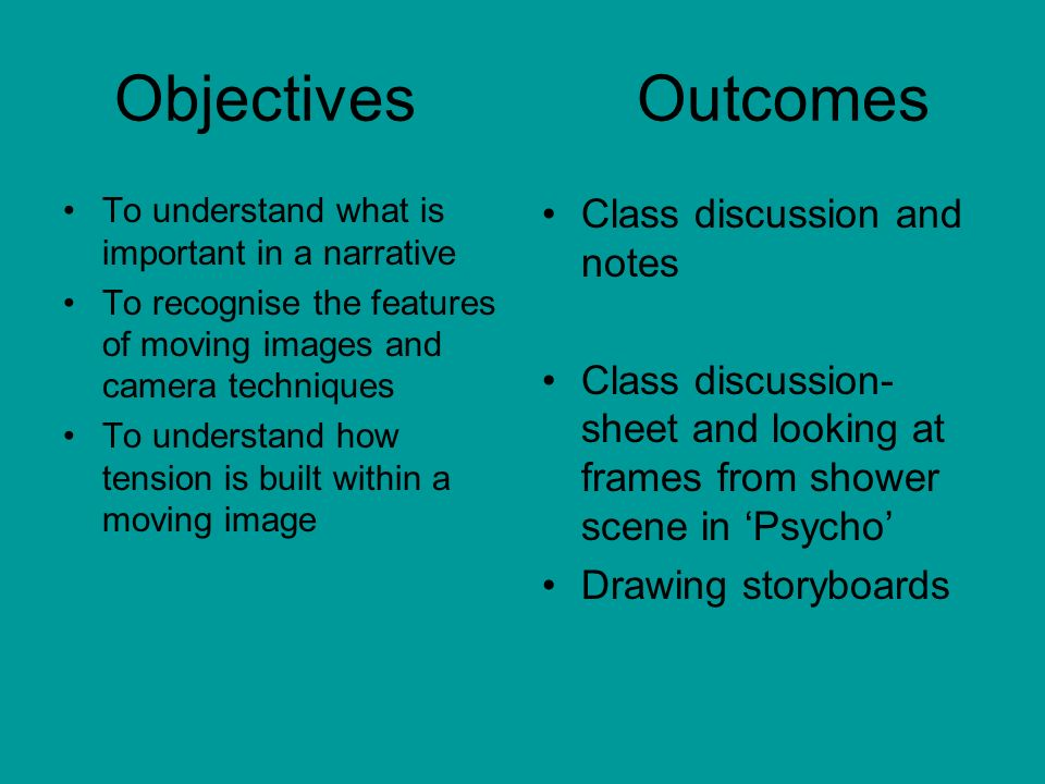 Objectives Outcomes Class discussion and notes