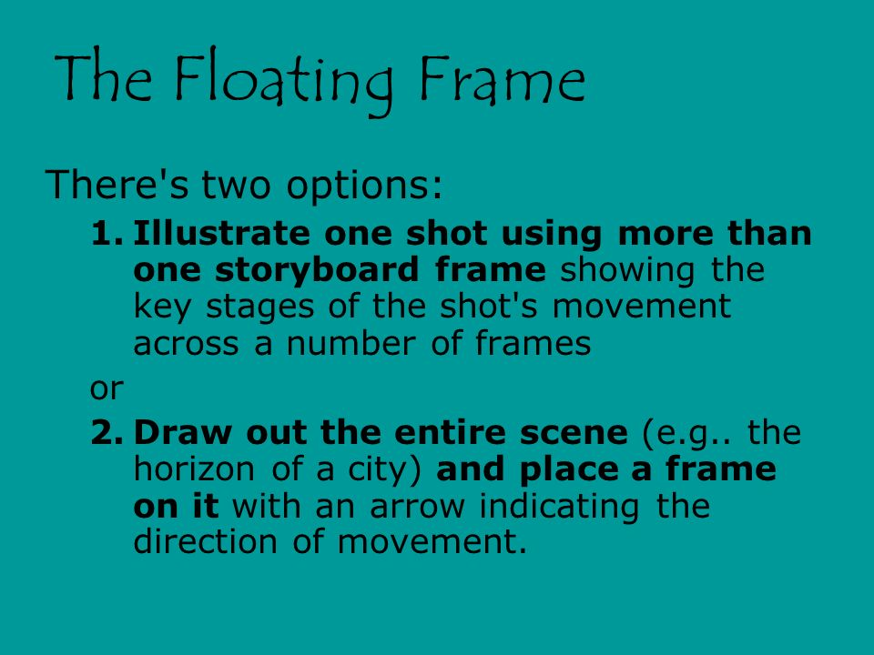 The Floating Frame There s two options: