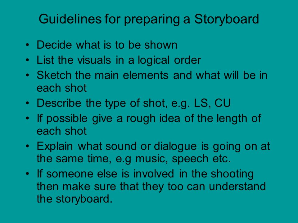 Guidelines for preparing a Storyboard