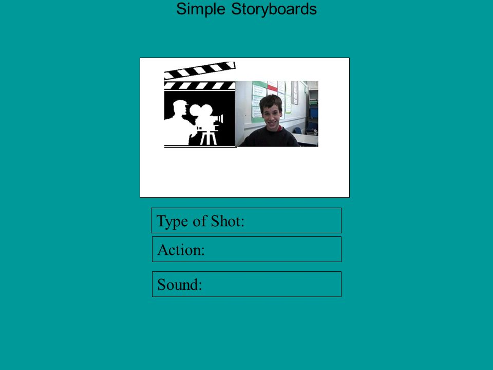 Simple Storyboards Type of Shot: Action: Sound: