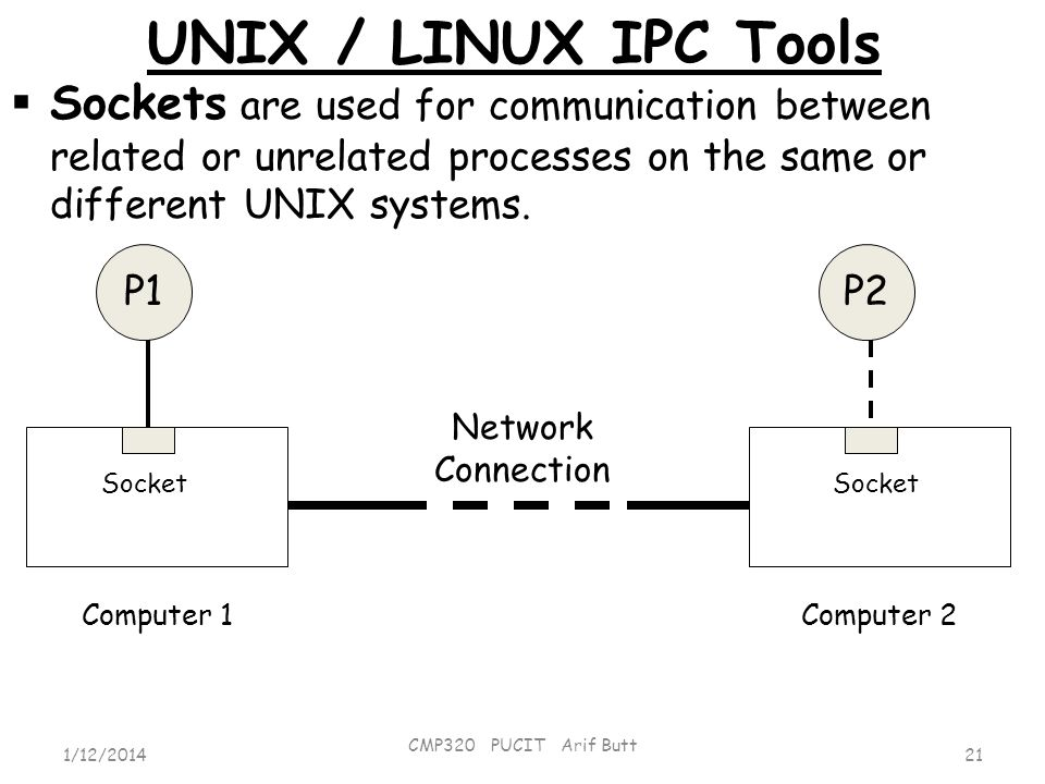 UNIX / LINUX IPC Tools Sockets are used for communication between related or unrelated processes on the same or different UNIX systems.