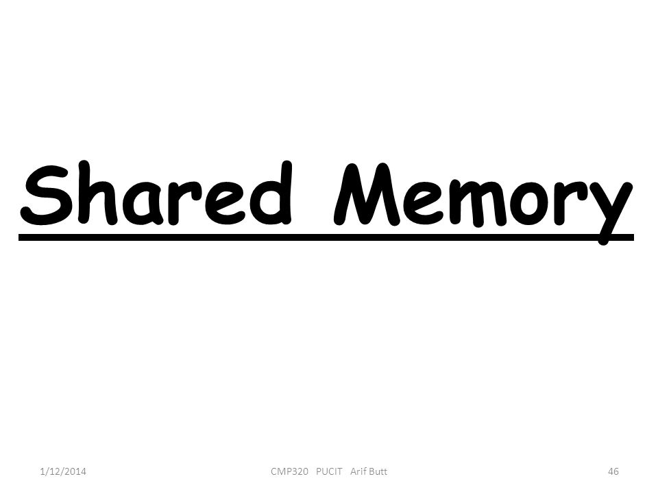 Shared Memory 3/25/2017 CMP320 PUCIT Arif Butt