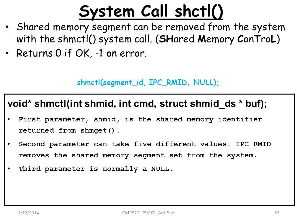 shmctl(segment_id, IPC_RMID, NULL);
