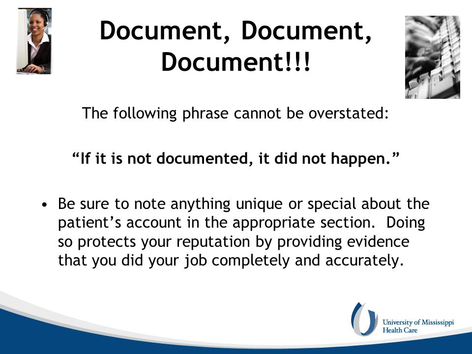 Document, Document, Document!!!