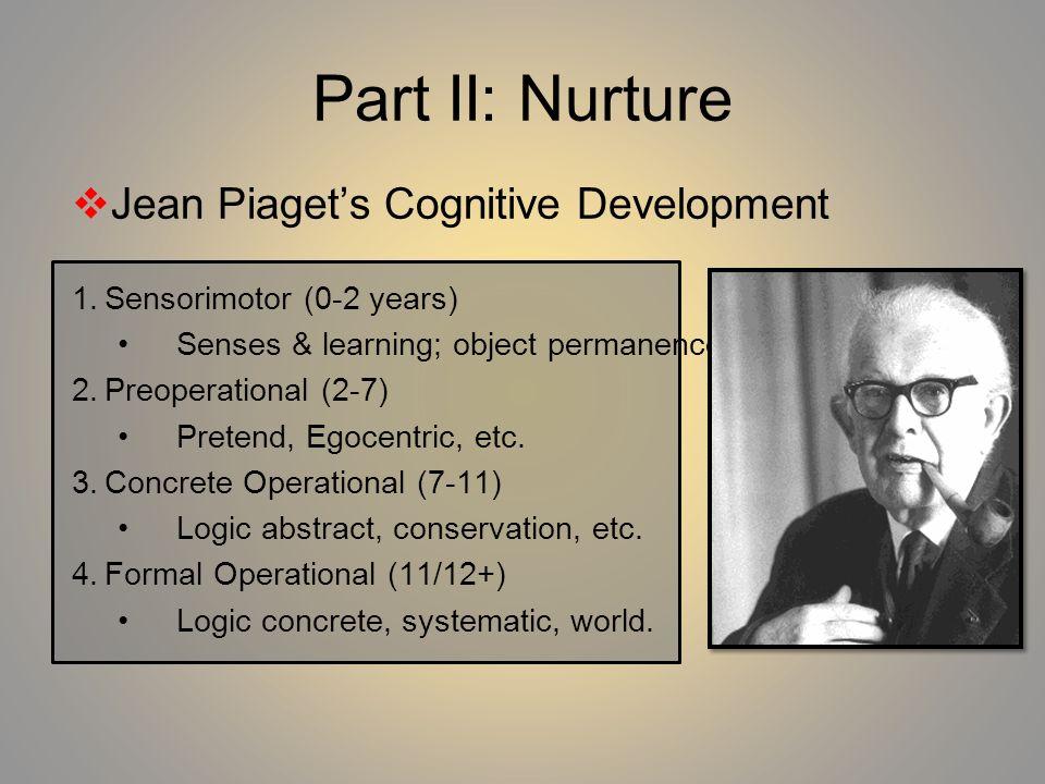 Part II: Nurture Jean Piaget's Cognitive Development