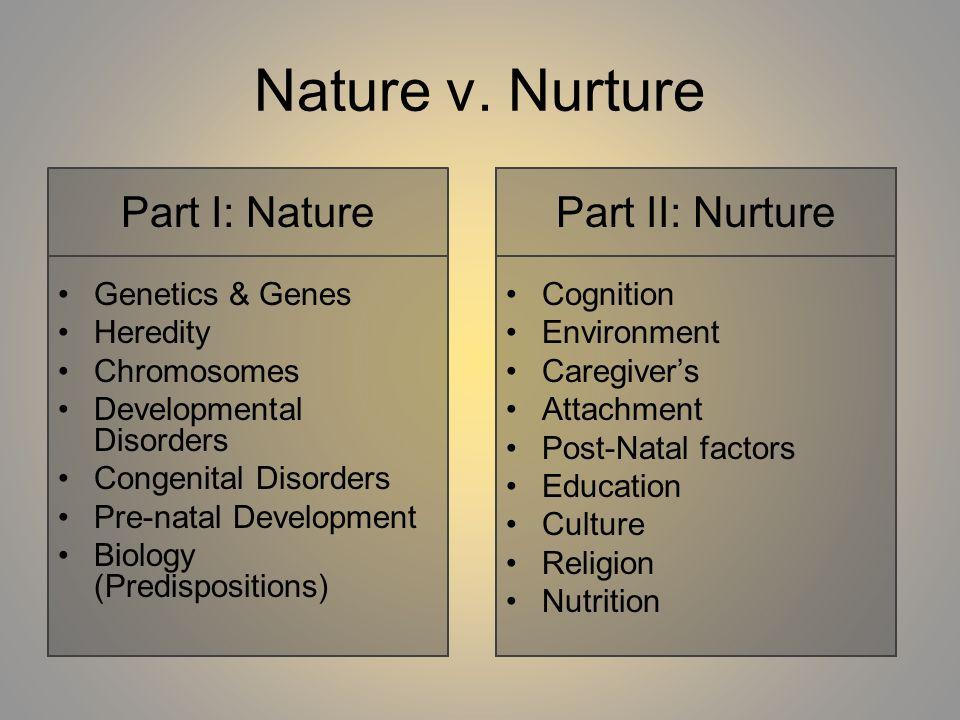 Nature v. Nurture Part I: Nature Part II: Nurture Genetics & Genes