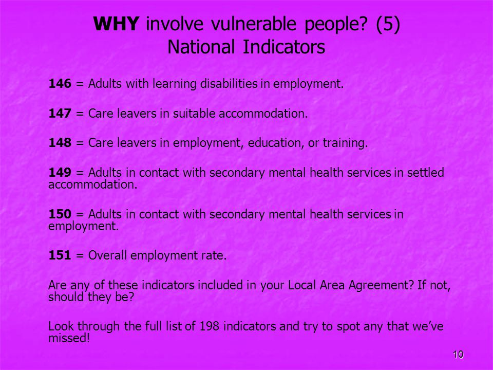 WHY involve vulnerable people (5) National Indicators