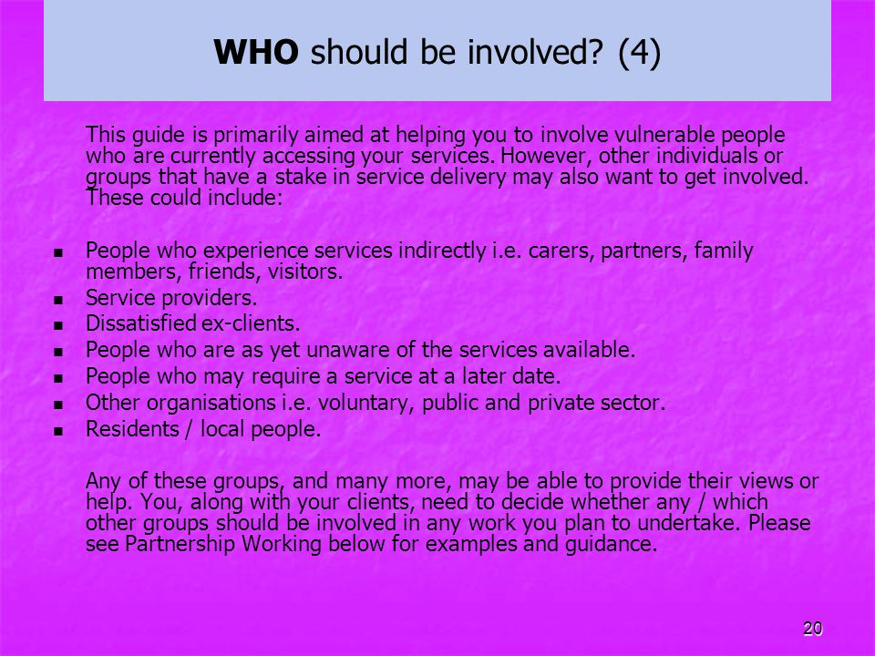 WHO should be involved (4)