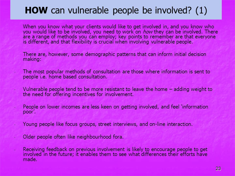 HOW can vulnerable people be involved (1)