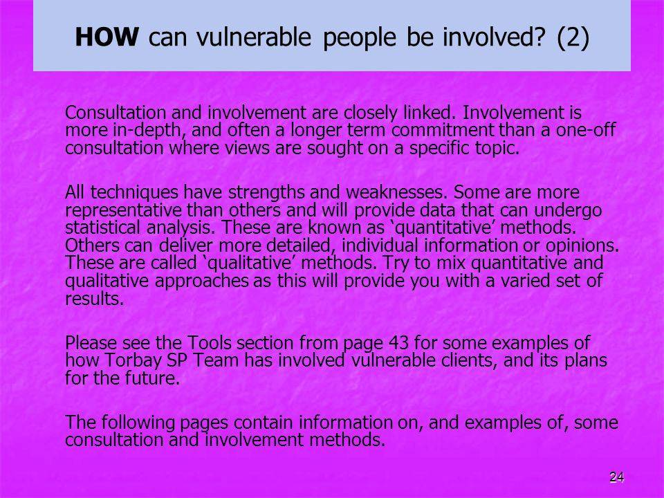 HOW can vulnerable people be involved (2)