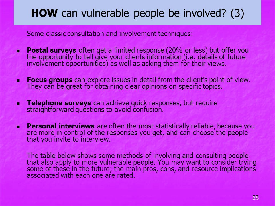 HOW can vulnerable people be involved (3)