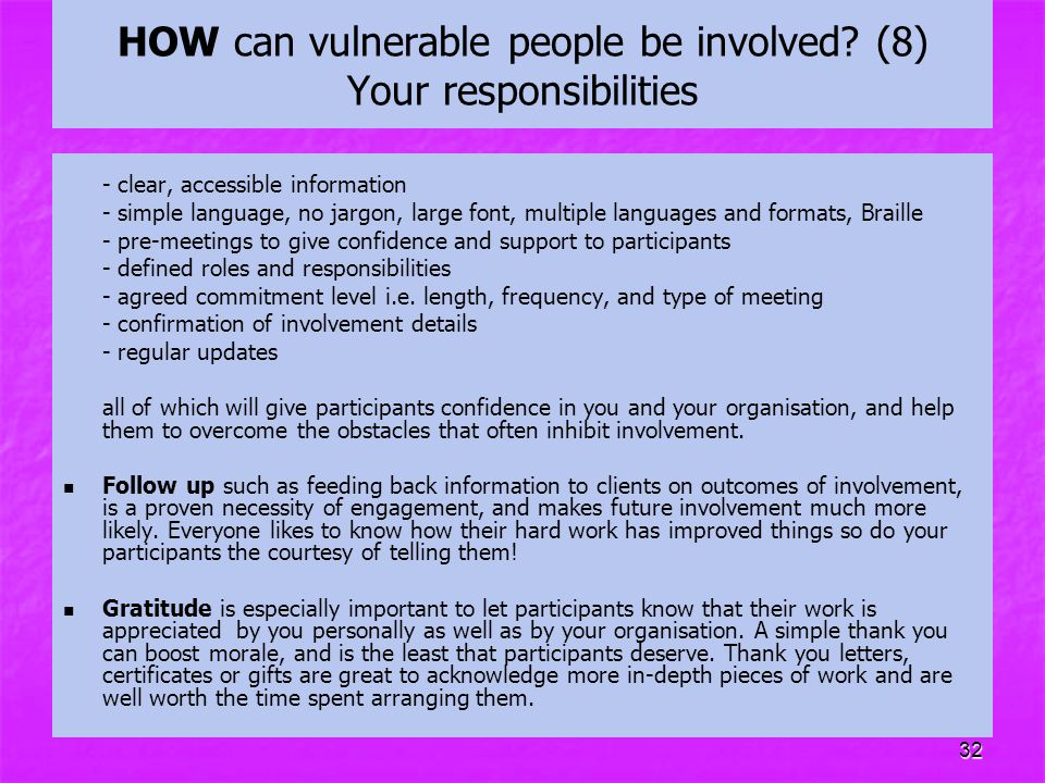 HOW can vulnerable people be involved (8) Your responsibilities