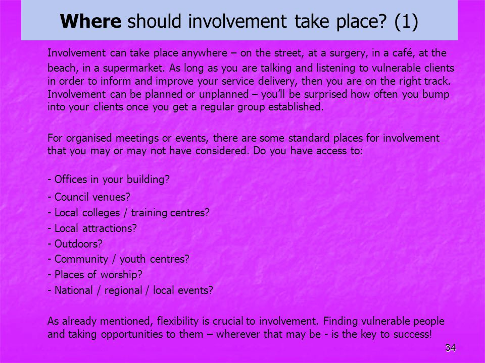Where should involvement take place (1)