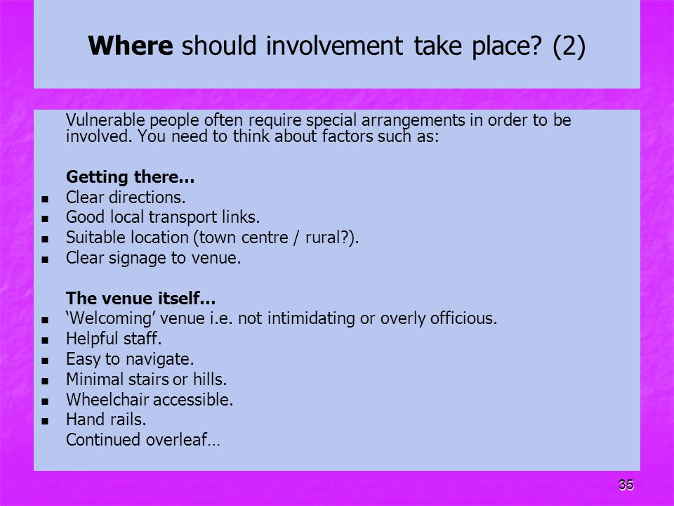 Where should involvement take place (2)