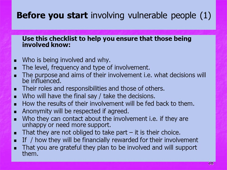 Before you start involving vulnerable people (1)