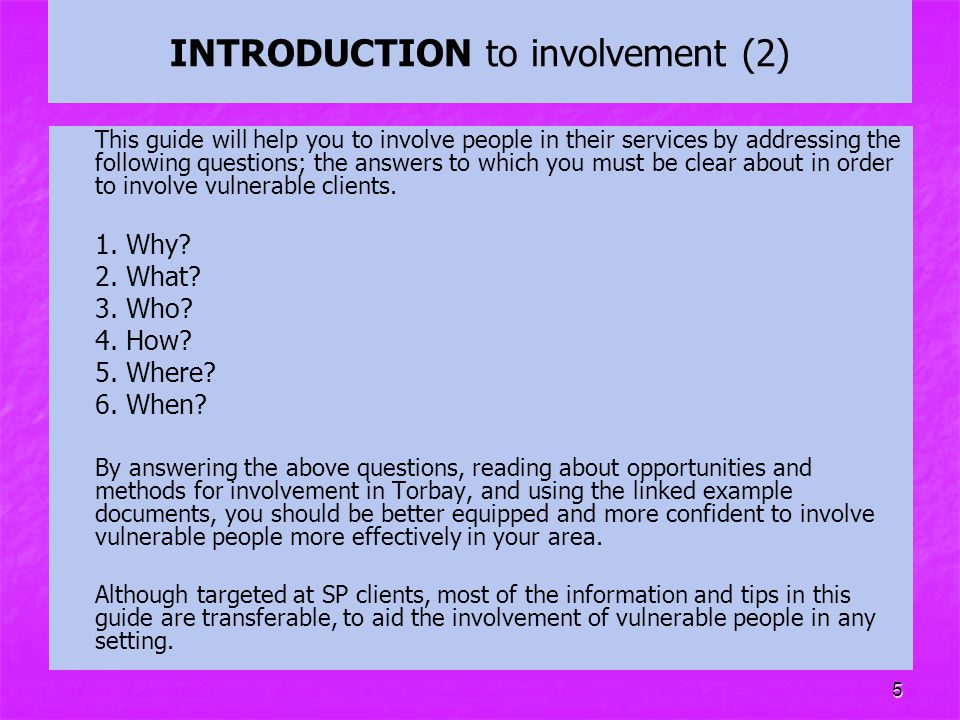 INTRODUCTION to involvement (2)